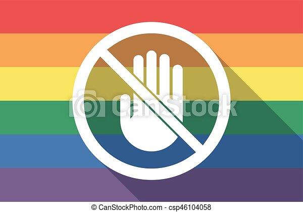 drapeau, permis, main, fierté gaie, pas, long, ombre, signal - csp46104058