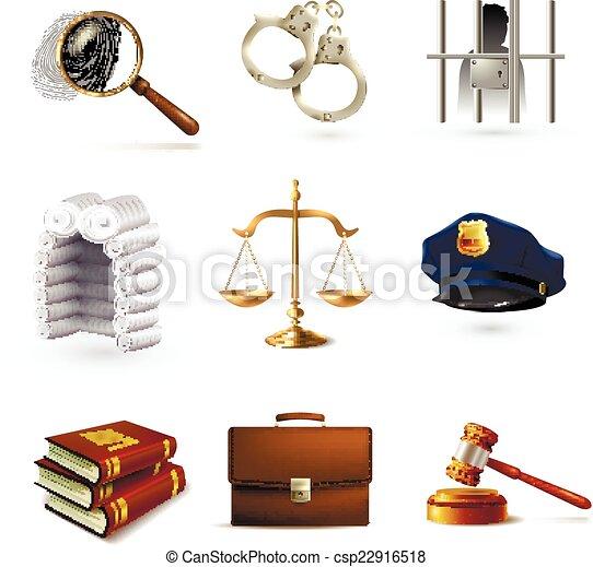 droit & loi, ensemble, légal, icônes - csp22916518