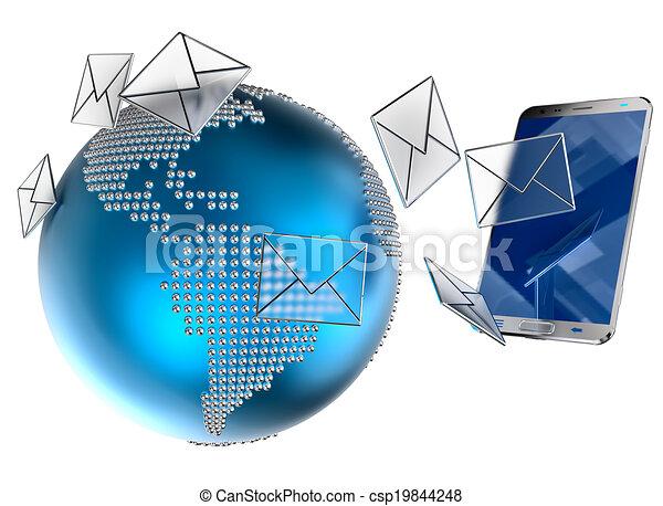 e-mail, mobile, sms, téléphone, ou, envoyé - csp19844248
