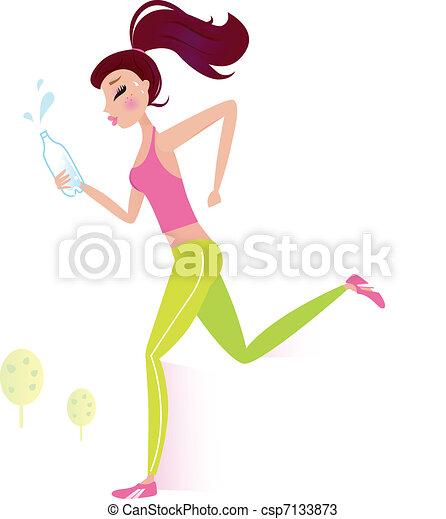 eau, ou, femme, jogging, bouteille, sain, courant - csp7133873