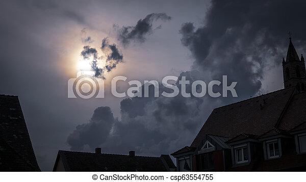 effrayant, entiers, ciel, lune, sombre, nuit - csp63554755
