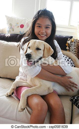 elle, chouchou, chien, fille asiatique, heureux - csp0581639