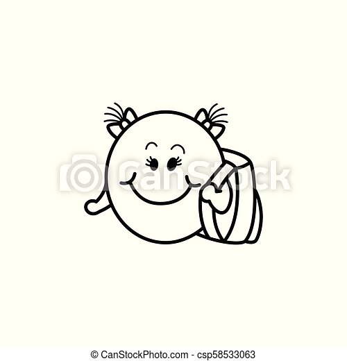 emoticon, figure, smiley, cartable, vecteur, femme - csp58533063