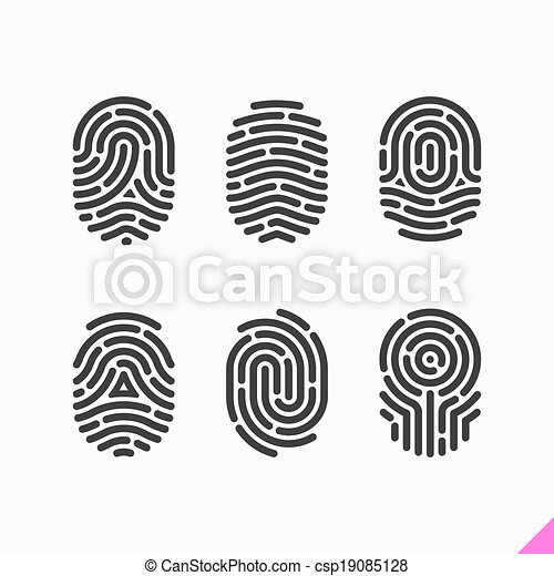 empreinte doigt, ensemble, icônes - csp19085128