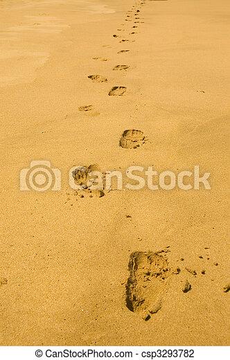 empreinte, sable - csp3293782