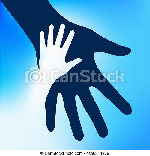 enfant, mains, portion - csp6314979