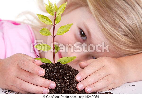 enfant, plante, sourire - csp14249054