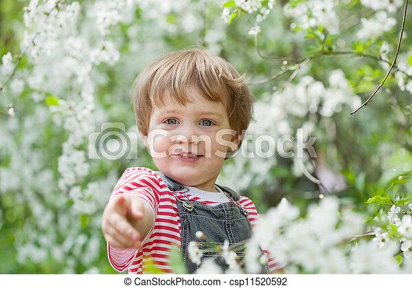 enfantqui commence à marcher, printemps, heureux - csp11520592