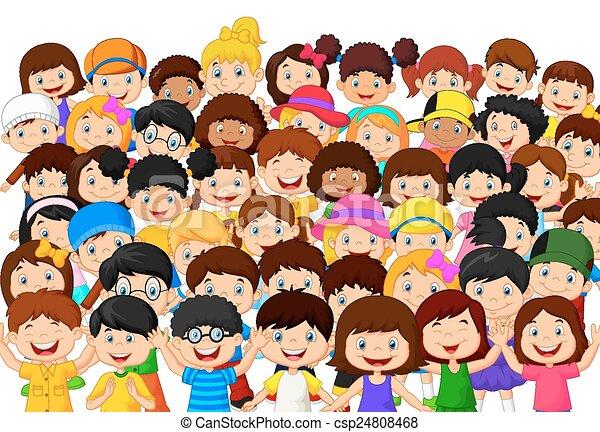 enfants, foule, dessin animé - csp24808468