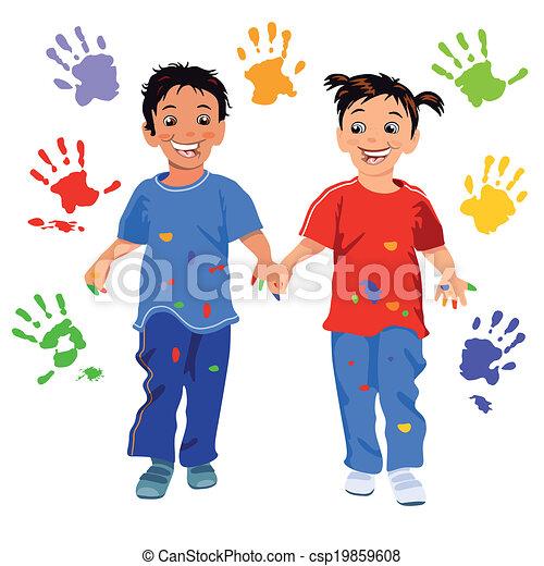 enfants, handprint - csp19859608