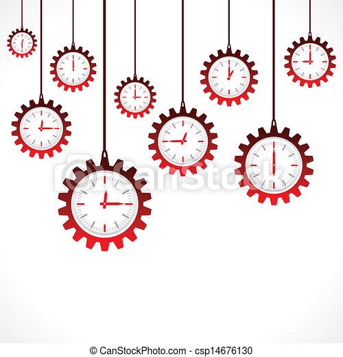 engrenage, clocks, forme, rouges - csp14676130