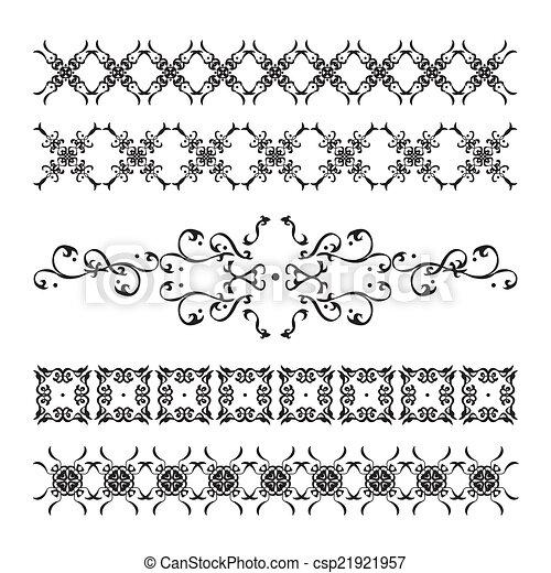 ensemble, élégant, calligraphic, décorations, vendange - csp21921957