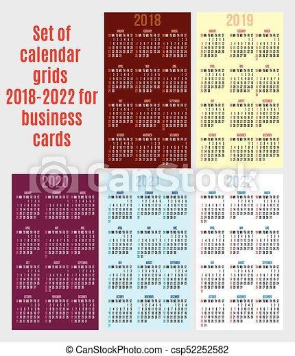 Calendrier 2018 2022 Ensemble, 2018 2022, business, années, vecteur, grille, cartes