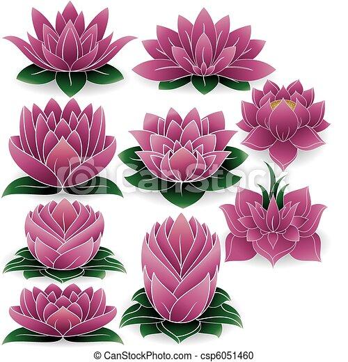 ensemble, 3, lotus, coloré - csp6051460