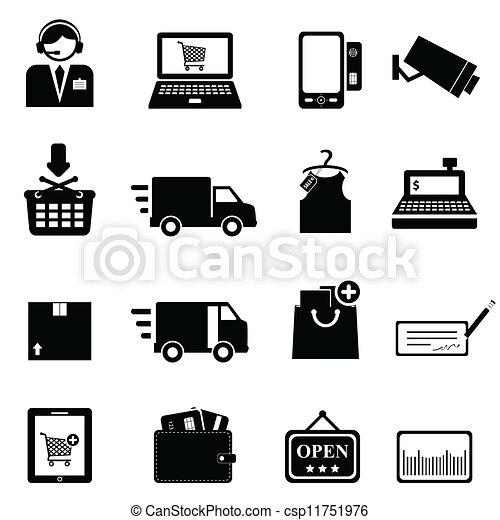 ensemble, achats, icône - csp11751976