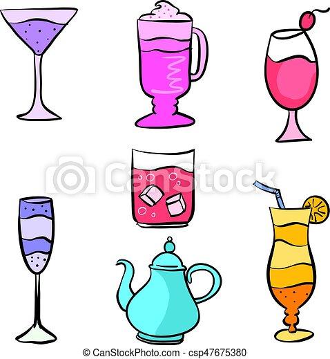 ensemble, boisson, divers, collection, stockage - csp47675380