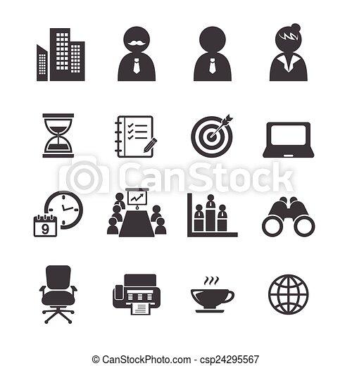 ensemble, bureau, icône - csp24295567