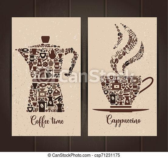 ensemble café, tasse, pot, icons., layout., petit, bannières, icône - csp71231175