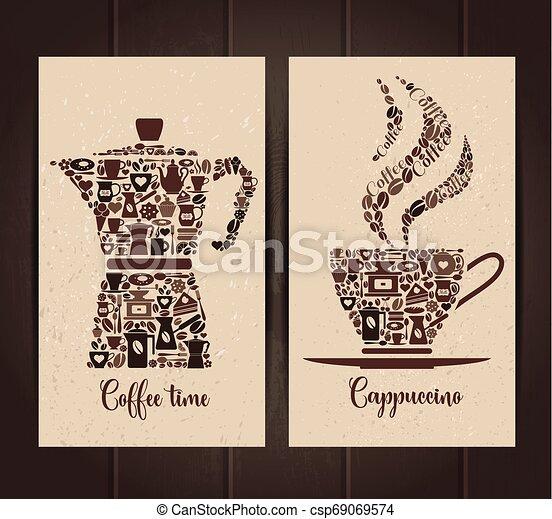 ensemble café, tasse, pot, icons., layout., petit, bannières, icône - csp69069574