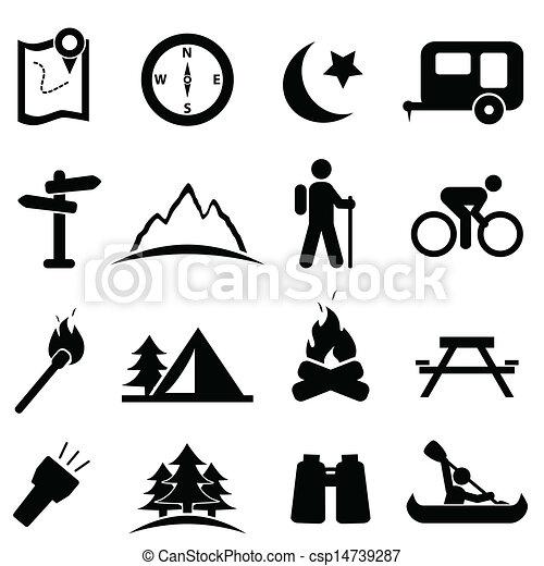 ensemble, camping, icône - csp14739287