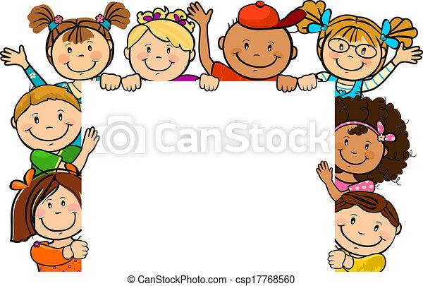 ensemble, carrée, enfants, feuille - csp17768560