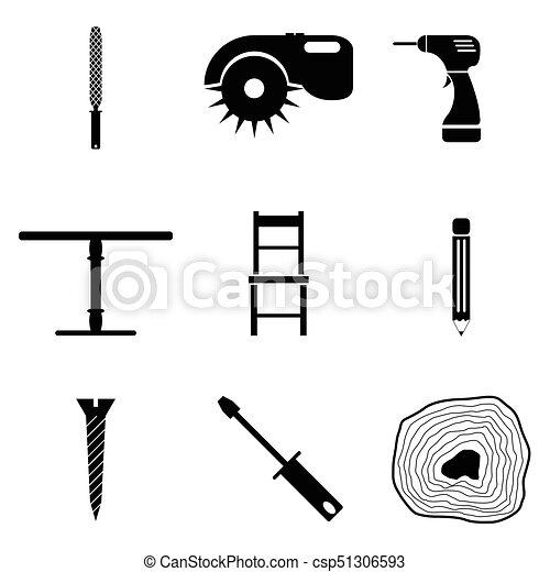 ensemble, charpentier, icône - csp51306593