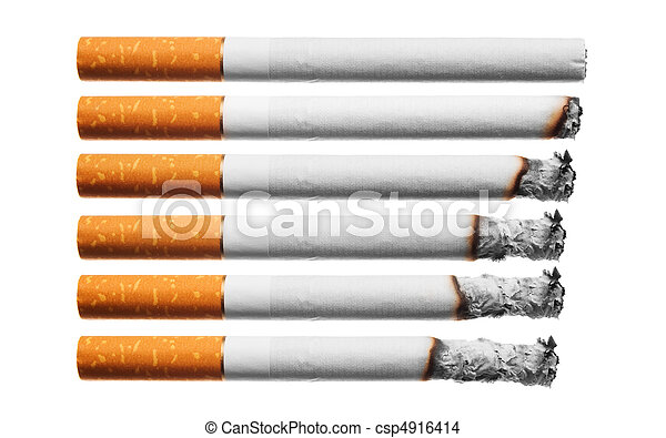 ensemble, cigarettes, blanc, brulure, fond - csp4916414