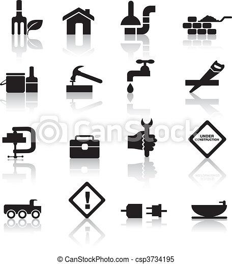 ensemble construction, bricolage, icône - csp3734195