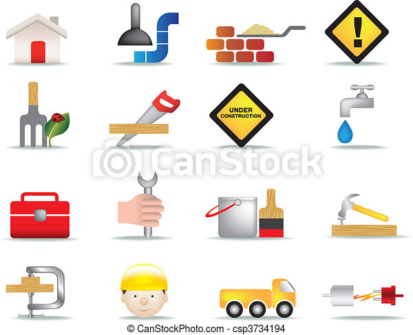 ensemble construction, bricolage, icône - csp3734194
