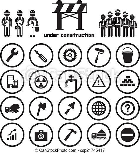 ensemble construction, icône - csp21745417