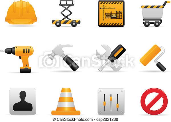 ensemble construction, icône - csp2821288