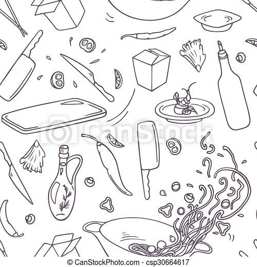 ensemble, contour, elements., restaurant, nourriture, griffonnage, main, asiatique, wok, dessiné - csp30664617