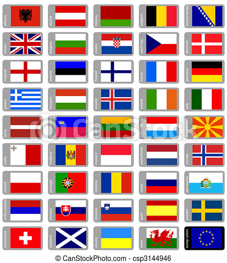 ensemble, drapeaux, européen - csp3144946