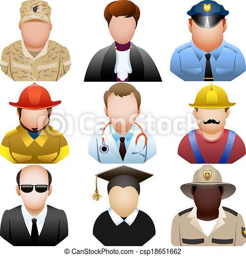 ensemble, gens, icône, uniforme - csp18651662