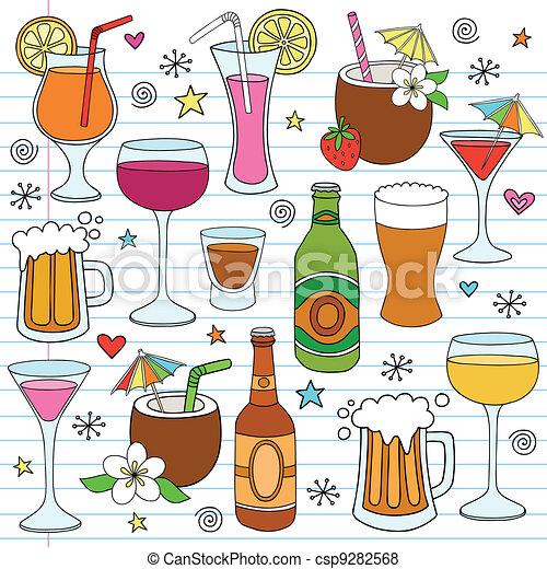 ensemble, griffonnage, bière, vecteur, vin, boissons - csp9282568