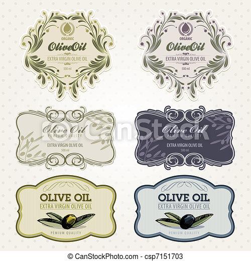 ensemble, huile, olive, étiquettes - csp7151703