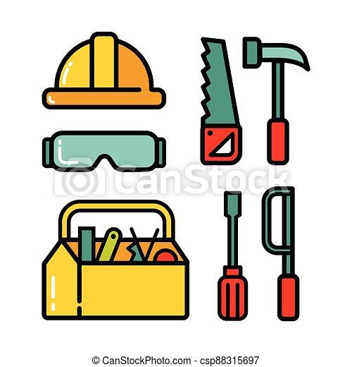 ensemble, icône, 2, charpentier - csp88315697