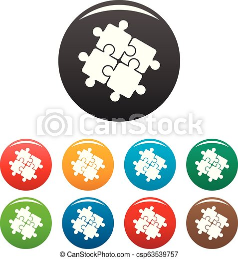 ensemble, icônes, couleur, puzzle, solution, collaboration - csp63539757