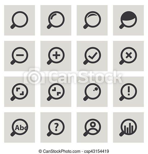 ensemble, icônes, verre, vecteur, ligne, magnifier - csp43154419