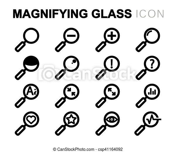 ensemble, icônes, verre, vecteur, noir, ligne, magnifier - csp41164092