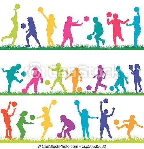 ensemble, jouer, balles, enfants - csp50535682