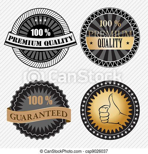 ensemble, prime, vendange, étiquettes, retro, qualité, insignes - csp9026037