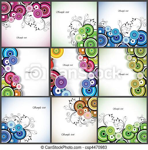 ensemble, romantique, résumé, arrière-plan., vecteur, floral - csp4470983