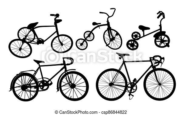 ensemble, silhouette, bike. - csp86844822