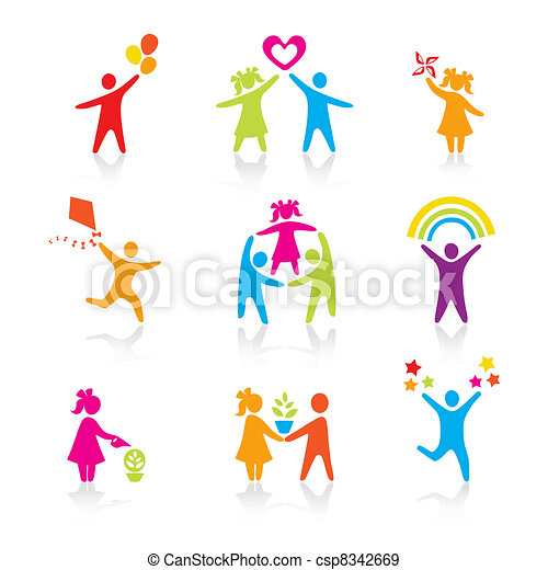 ensemble, silhouette, gens, gosse, homme, icônes, -, symbole., garçon, femme, girl, parents, père, vector., family., mère, enfant - csp8342669