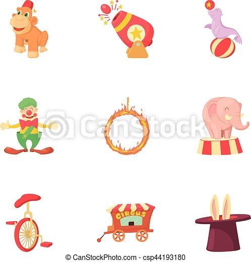 ensemble, style, cirque, dessin animé, icônes - csp44193180