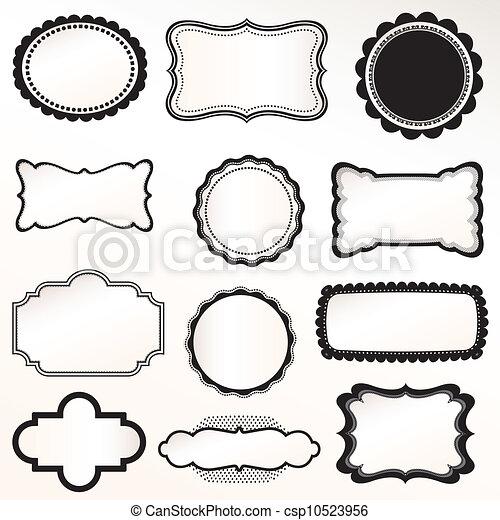 ensemble, vecteur, cadre, vendange, décoratif - csp10523956