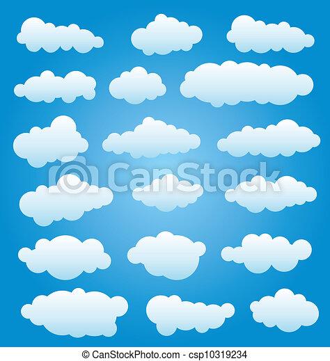 ensemble, vecteur, nuages - csp10319234