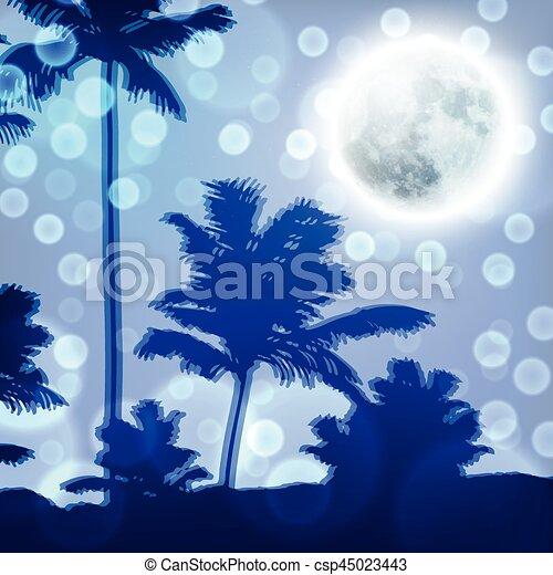 entiers, arbres, lune, nuit paume, paysage - csp45023443