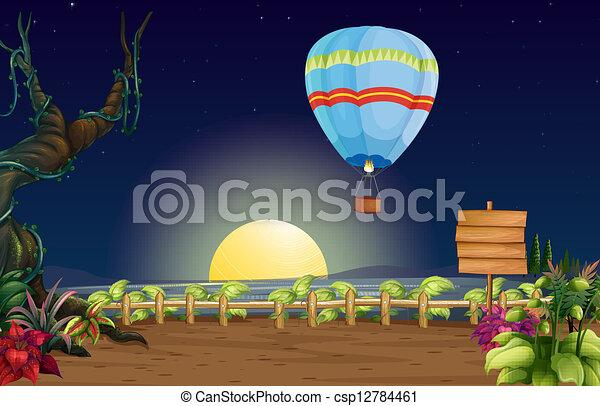 entiers, balloon, clair, lune, air chaud - csp12784461